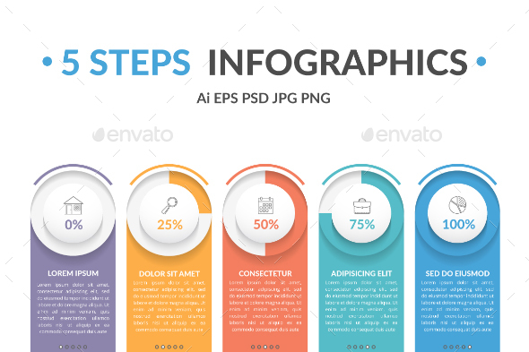 Infographic Template with 5 Steps - Infographics