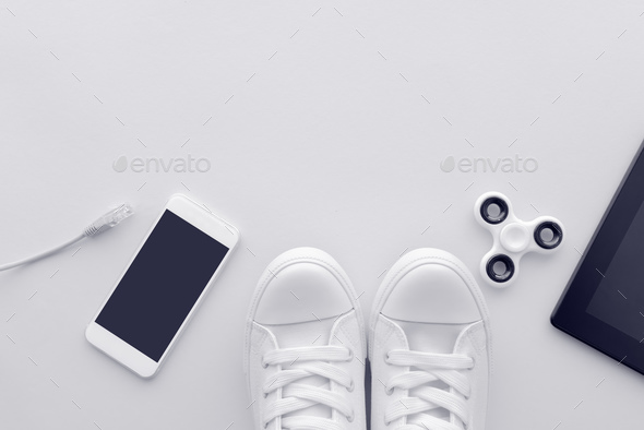 Millennial generation gadgets flat lay top view with copy space - Stock Photo - Images