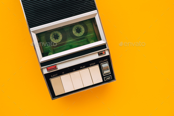 Top view of audio cassette tape player - Stock Photo - Images
