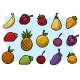 Cartoon Fruits and Vegetables Vector Icon Set