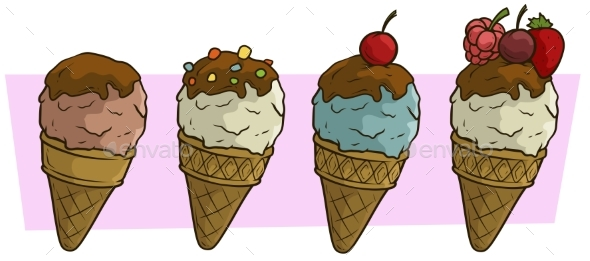 Cartoon Colored Ice Cream Balls in Waffle Cone - Food Objects