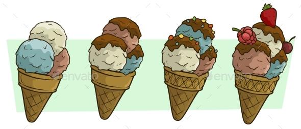 Cartoon Three Ice Cream Balls in Waffle Cone - Food Objects