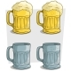Free Download Cartoon Ribbed Colorful Beer Mugs Vector Icon Set Nulled