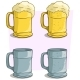 Cartoon Colorful Beer Mugs Vector Icon Set