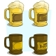 Cartoon Beer Mugs with Label Vector Icon Set