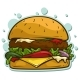 Cartoon Hamburger Vector Sticker Icon - GraphicRiver Item for Sale