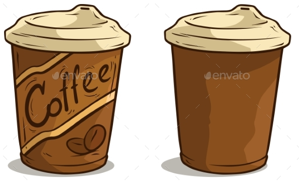 Cartoon Coffee Cup with Lid Vector Icon - Food Objects