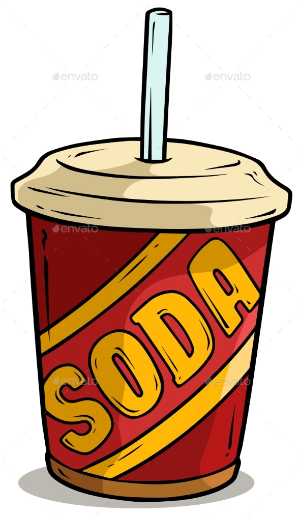Cartoon Plastic Cup of Soda Drink with Straw - Food Objects
