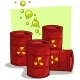 Cartoon Red Metal Barrels with Radiation Sign
