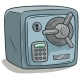 Cartoon Steel Safe Box with Lock Vector Icon - GraphicRiver Item for Sale
