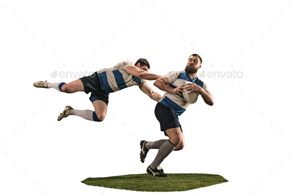 The silhouette of two caucasian rugby man player isolated on white background - Stock Photo - Images