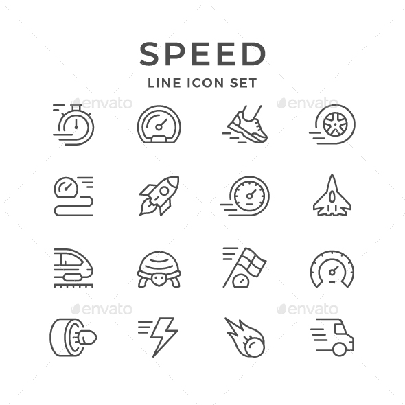 Set Line Icons of Speed - Man-made objects Objects