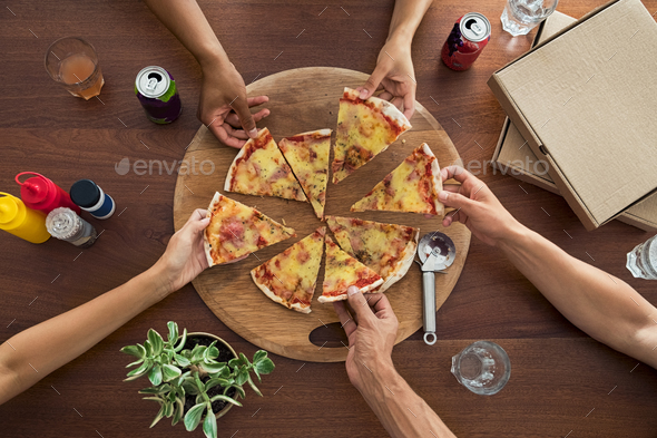 Top view of pizza party - Stock Photo - Images