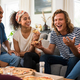 Friends enjoying pizza party - PhotoDune Item for Sale
