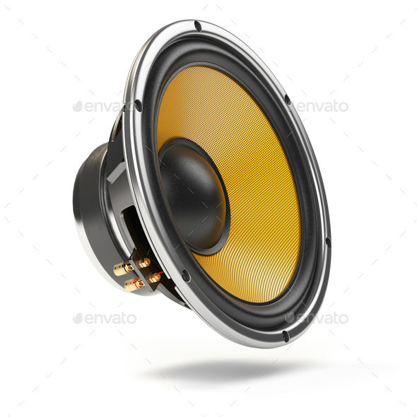 Loudspeaker.  Multimedia acoustic sound speaker isolated on whit - Stock Photo - Images
