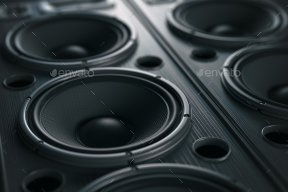 Multimedia  acoustic sound speaker system. Music close up black - Stock Photo - Images