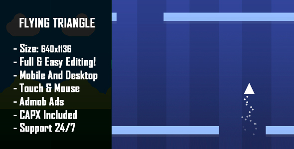 Flying Triangle - HTML5 Game + Mobile Version! (Construct 2 / Construct 3 / CAPX) - CodeCanyon Item for Sale