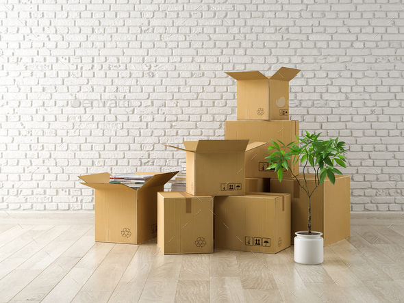 Interior with packed cardboard boxes for relocation 3D rendering - Stock Photo - Images