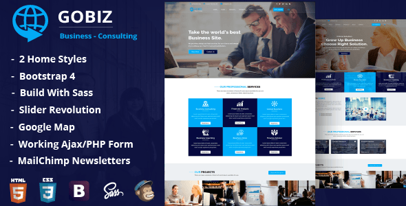 Image of GoBiz – Corporate Business & Consulting Template