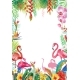 Frame From Tropical Flowers and Flamingos - GraphicRiver Item for Sale