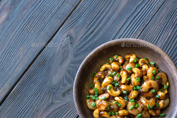 Portion of cashew shrimp stir-fry  - Stock Photo - Images