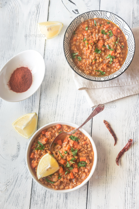 Smoked paprika red lentil stew - Stock Photo - Images