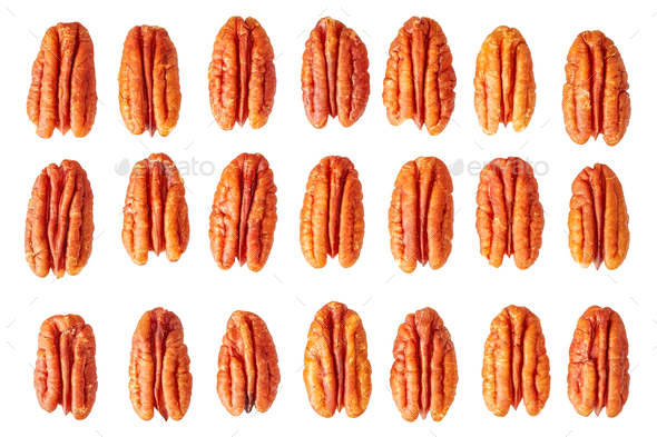 Dried pecan nut halves isolated on white. - Stock Photo - Images