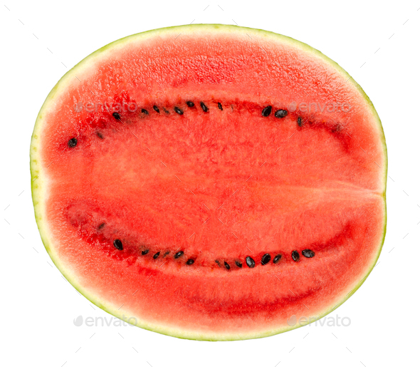 Sweet watermelon half, cross section, front view, over white - Stock Photo - Images