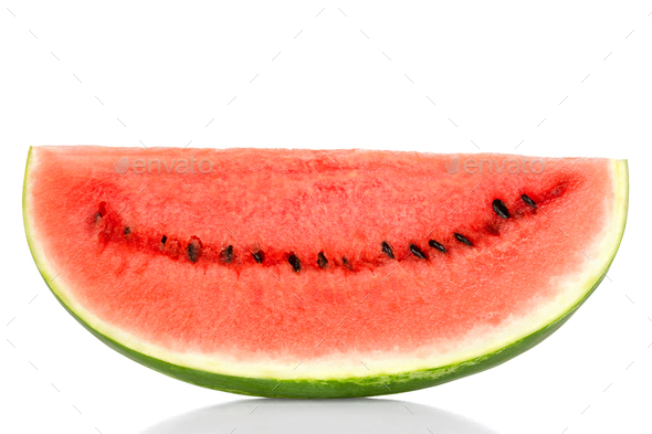 Sweet watermelon slice, front view, over white - Stock Photo - Images
