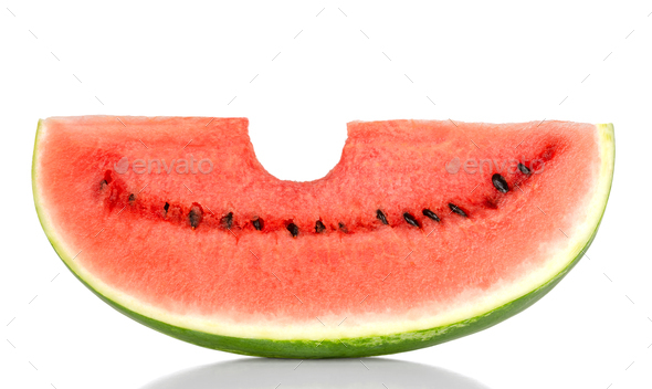 Bitten into a sweet watermelon slice, front view, over white - Stock Photo - Images