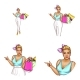 Vector Avatar of Blonde Overweight Woman Shopping