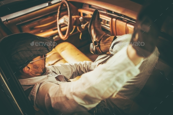 Retro Classic Car Driver - Stock Photo - Images