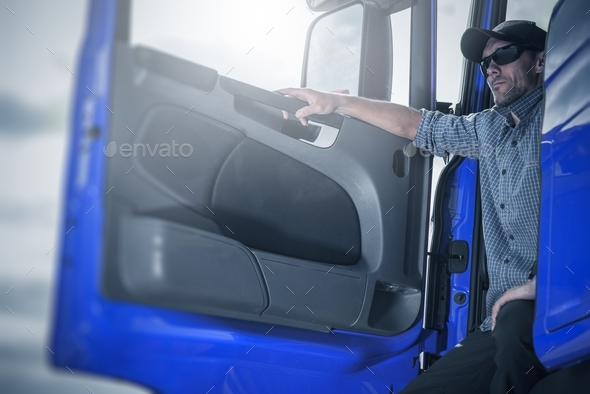 Proud Driver in His Truck - Stock Photo - Images