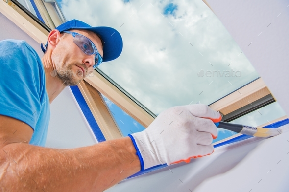 Room Painter in Action - Stock Photo - Images