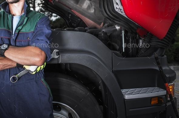 Semi Truck Mechanic Job - Stock Photo - Images