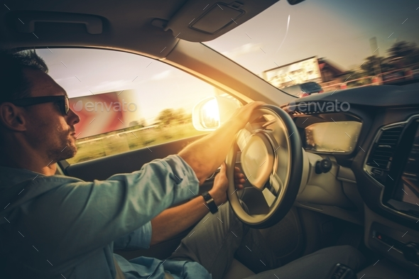 Car Drive in Motion - Stock Photo - Images