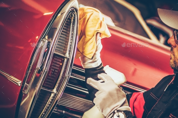 Classic Car Body Cleaning - Stock Photo - Images