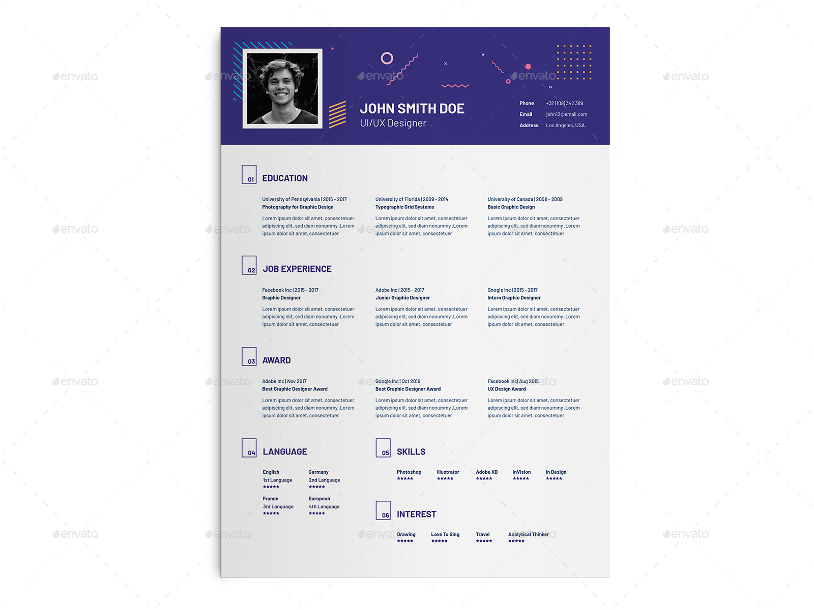 UI UX Designer Resume Template