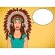 Woman in Indian Headdress Pop Art Vector - GraphicRiver Item for Sale