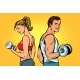 Man and Woman with Dumbbells