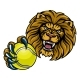 Lion Tennis Ball Sports Mascot