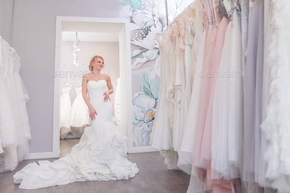 Attractive bride in the store - Stock Photo - Images