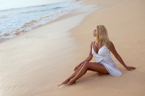 Beautiful young girl in summer - Stock Photo - Images
