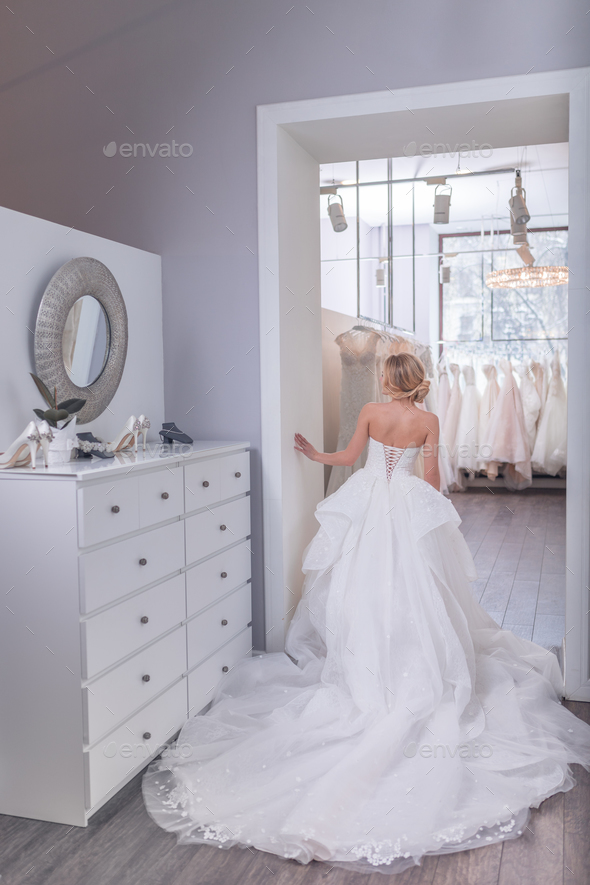 Young bride in white dress - Stock Photo - Images