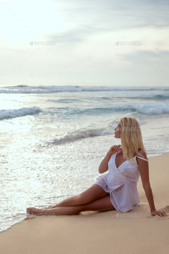Beautiful young girl on vacation - Stock Photo - Images