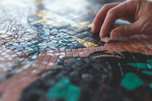 Men's hands with mosaic - Stock Photo - Images
