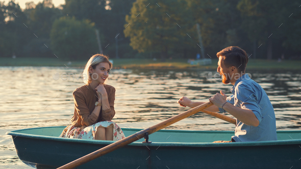 Young attractive couple in summer - Stock Photo - Images
