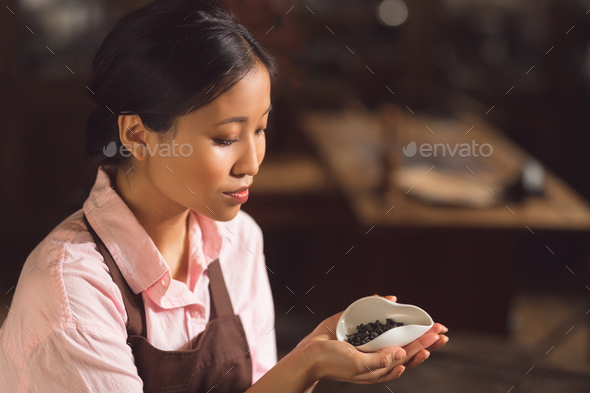 Young asian woman with green tea - Stock Photo - Images