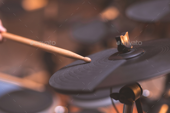 Male hands playing the drums - Stock Photo - Images