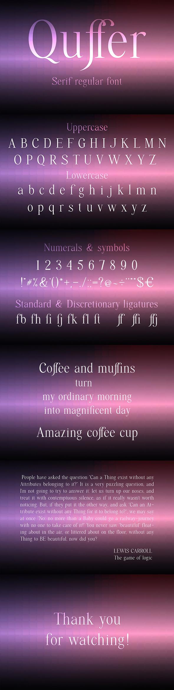 Quffer, serif regular font - Serif Fonts
